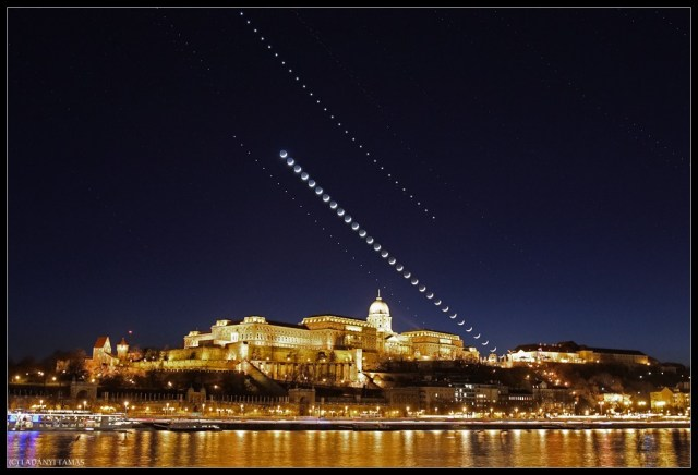 Jupiter, the Moon and Venus align over Buda Castle in Budapest