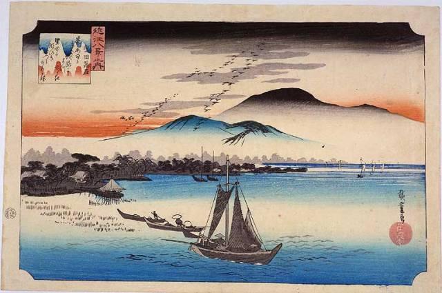 Descending Geese at Katada (Utagawa Hiroshige)
