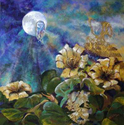 Moon and Cup of Gold Flowers (Nadine Zenobi)