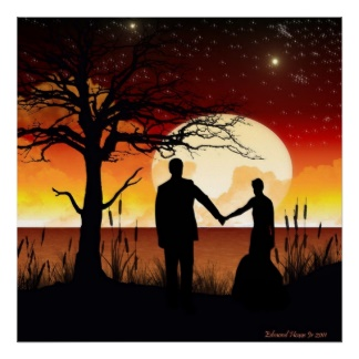 Newlyweds in moonlight (zazzle.com)