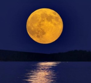 Harvest Moon Over Lake