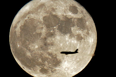 Full Milk Moon with Airplane