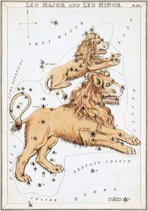 Leo Major and Leo Minor (Urania's Mirror) (Sidney Hall)