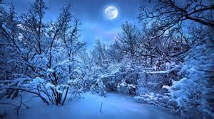 Full moon over snowy woods