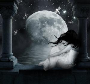 Girl and Fantasy Moon