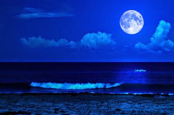 Blue Moon over ocean