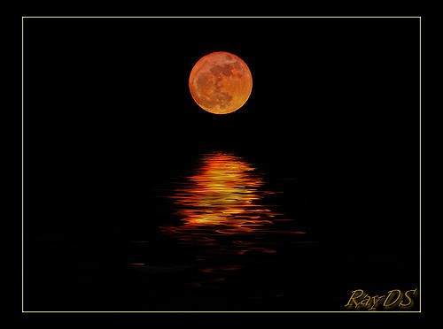 Full Red Moon and Reflection on Water (Ray DS)