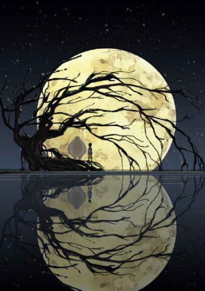 Full moon, gnarled tree and boy