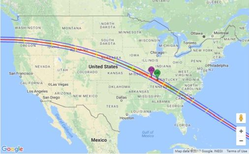 Path of Solar Eclipse (Aug 2017)